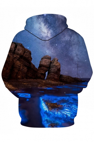 Hoodie Pocket with Sleeves Landscape Galaxy Pullover Sea Cliff Printed Fabulous Long OU8qv