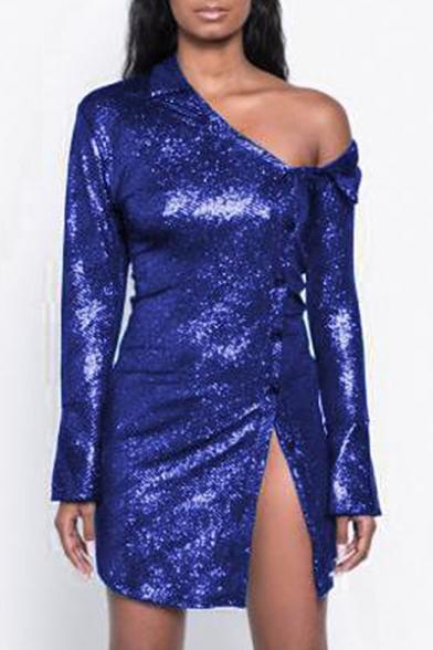 Fancy One Shoulder Split Button Front Plain Sequined Mini Bodycon Dress