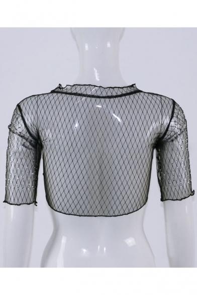 Fashion Diamante Embellished Plain Half Sleeve Cropped Tee