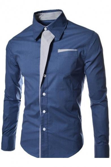 Hot Fashion Color Block Print Lapel Long Sleeve Single Breasted Shirt