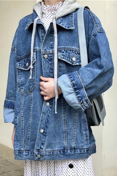 Color Block Print Single Breasted Long Sleeve Hooded Denim Jacket