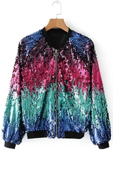 New Fashion Sequined Color Block Long Sleeve Zip Up Stand-Up Collar Jacket