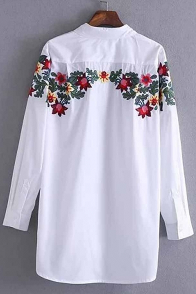 Long Embroidered Point Down Sleeves Shirt Collar Floral Tunic Popular Button UqpPp