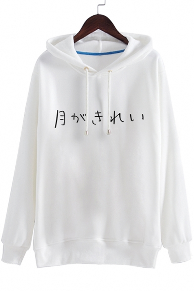 Japanese Long Character Printed Pullover Hoodie Sleeves Basic Simple w5EqzIU