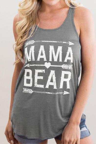 Simple MAMA BEAR Letter Printed Scoop Neck Loose Summer Tank