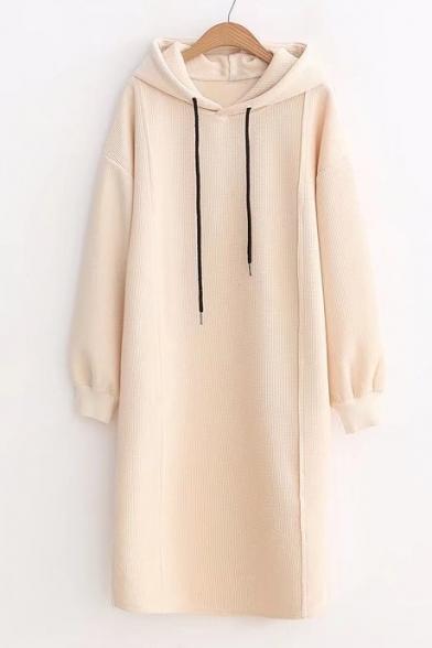 Simple Plain Long Sleeves Split Hem Pullover Tunic Hoodie