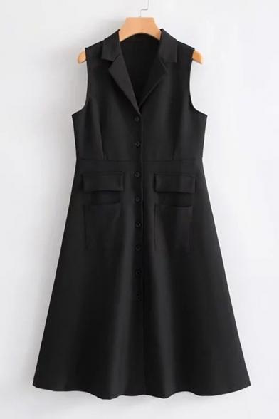 Simple Plain Notched Lapel Single Button Pocket Tank Dress