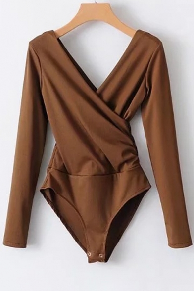 V Wrap Bodysuit Fit Long Sleeves Back Plain Front Simple Slim Xg4wOw