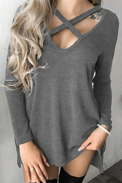 Plain Long Sleeves Neck V Lace up Cutout Autumn Hollow Tee Stylish RwqPZq