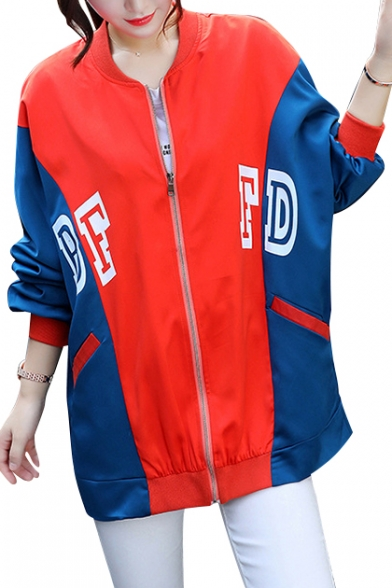 Stylish Planet Embroidered Color Block Long Sleeves Zippered Baseball Jacket with Pockets