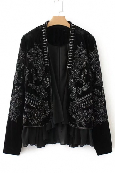 Sleeve Embroidered Front Pattern Open Long Trendy Coat xgtXwqt