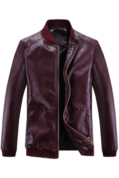 Sleeve Stand Plain Zipper Jacket Collar Up Basic Long Leather Faux nwSIqOIax8