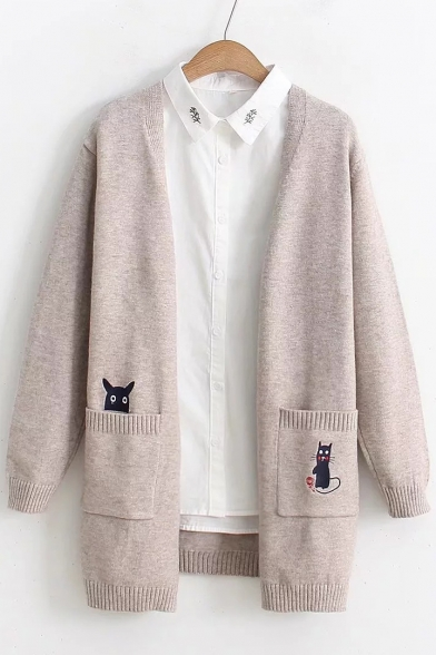 Cartoon Open with Front Long Pocket Sleeve Cardigan Chic Embroidered OaxqATT