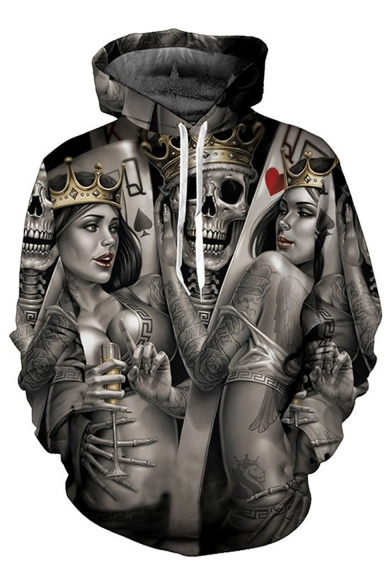 Women Pocket Hoodie Party Poker Pattern Pullover Chic Skull with Crown Skeleton Hg4n7wx