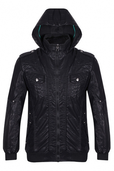 Cool Plain Faux Leather Long Sleeve Hooded Zipper Jacket