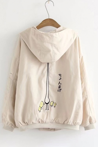 Cute Chick Red-crowned Crane Japanese Embroidered Hooded Zippered Jacket