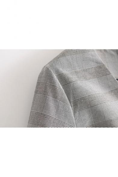 Elegant Checkered Plaids V-Neck Blouson Sleeves Zip-Back Shift Mini Dress