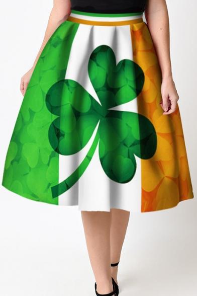 Elegant Elastic Waist Clover Printed Color Block Flared Midi Skirt