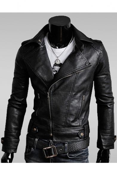 Fashion Faux Leather Plain Notch Lapel Long Sleeve Zipper Biker Jacket