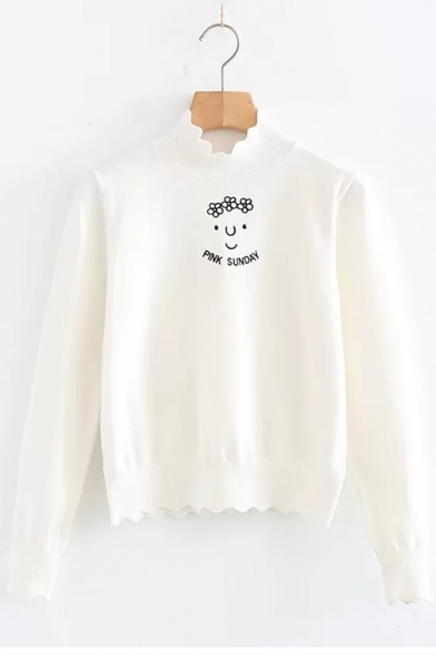 Happy Face Floral Letter Embroidered Long Sleeve Turtleneck Pullover Sweater