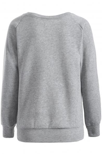 Print Bat Leisure Sleeve Pullover Letter Raglan Round Sweatshirt Neck FAnnEqp