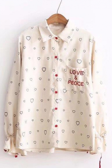 Letter Embroidered Detail Pocket Heart Pattern Printed Lapel Collar Long Sleeve Shirt