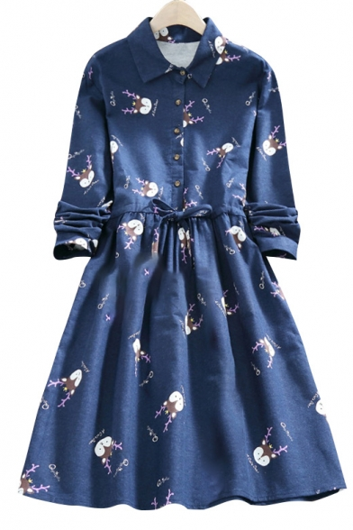 Little Fawns Printed Lapel Collar Drawstring Waist Long Sleeve Midi Dress