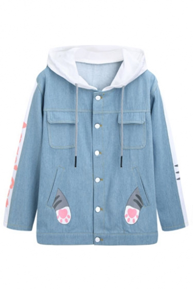 Lovely Cat Cartoon Letter Paw Printed Color Block Button Down Hooded Ears Pockets Denim Jacket