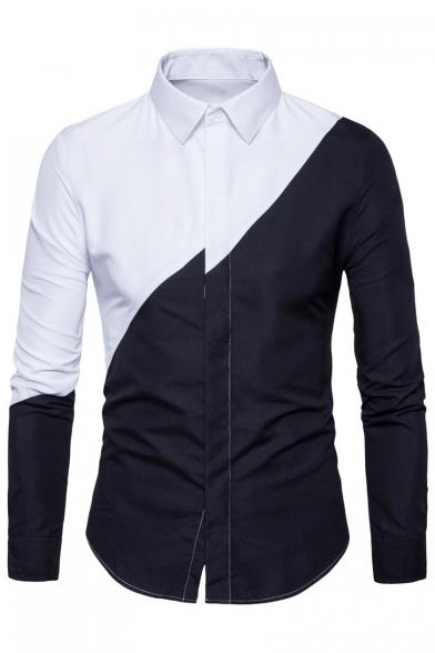 New Stylish Color Block Print Long Sleeve Lapel Button Down Shirt