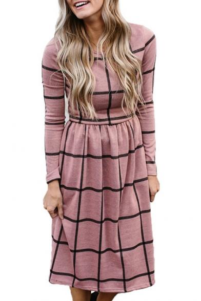 Round New Trendy Neck Print Sleeve Plaid Dress Midi Long qFaXw