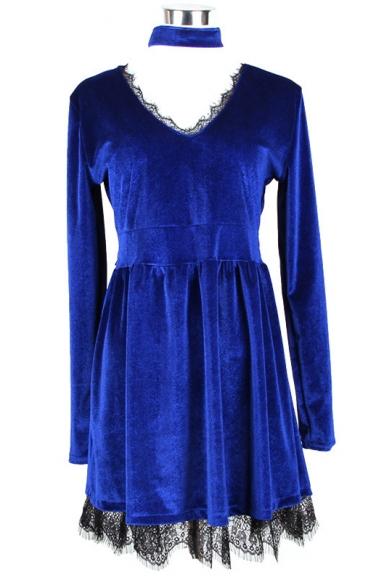 Party Style Choker Keyhole Neck Plain Lace Trimmed Long Sleeves Mini A-line Dress