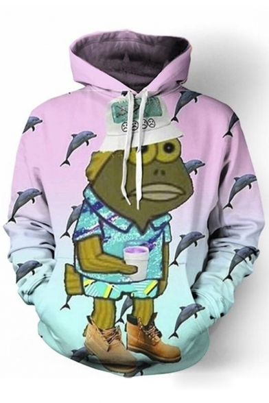 Popular Fish Cartoon Character Dolphin Printed Long Sleeves Pullover Hoodie with Pocket