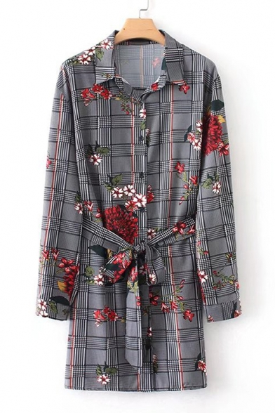 Retro Plaid Floral Print Tie Waist Lapel Long Sleeve Button Shirt Dress