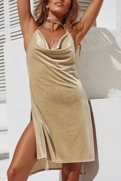 Sexy Halter Neck Open Back Split Side Dipped Hem Plain Velvet Mini Cami Dress