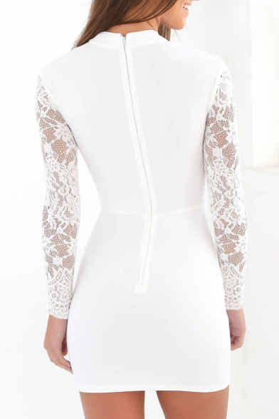 Lace Keyhole Choker Sweetheart Bodycon Dress Mini Zip Back Sexy Front Cutout Neck Panel aSYOnTnq