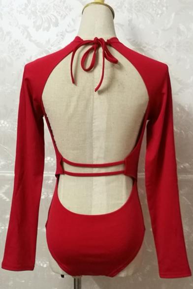 Sexy Sleeve Simple Zipper Open Back Swimwear Plain Long Tie YqYtr