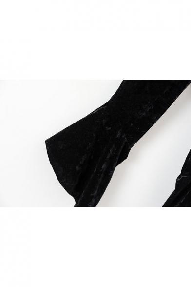 Simple Plain Keyhole Front Long Sleeve Tee Flared Hem Pants Co-ords