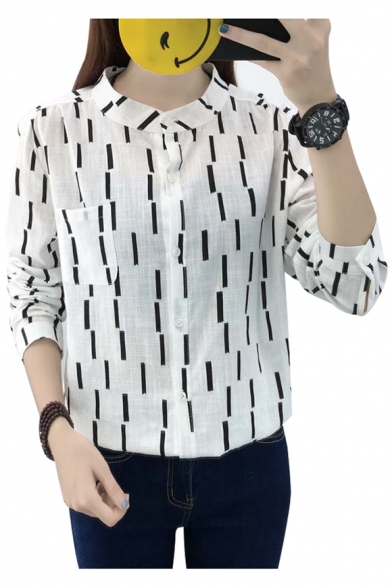 Simple Striped Pattern Round Neck Long Sleeves Button Down Pocket Shirt