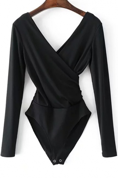 Back V Simple Bodysuit Fit Plain Long Slim Sleeves Wrap Front AAFYX