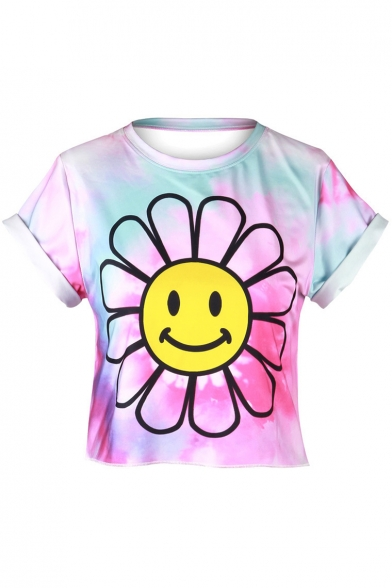 Round Print Face Neck Short Smile Color Tee Cropped Sleeve Block Floral dXqxwIB