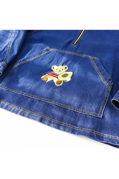 Stylish Cartoon Bear Print Long Sleeve Zipper Hooded Denim Jacket