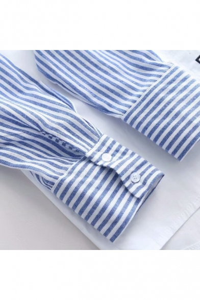 Stylish Color Block Striped Letter Coffee Embroidered Long Sleeves Button Down Shirt
