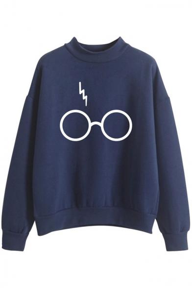 Stylish Lightning Scar Eyeglasses Glasses Printed High Neck Long Sleeves Sweatshirt
