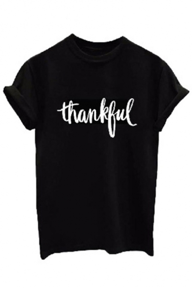 Tee Printed Round Short Neck THANKFUL Letter Sleeve Sw8x6441q