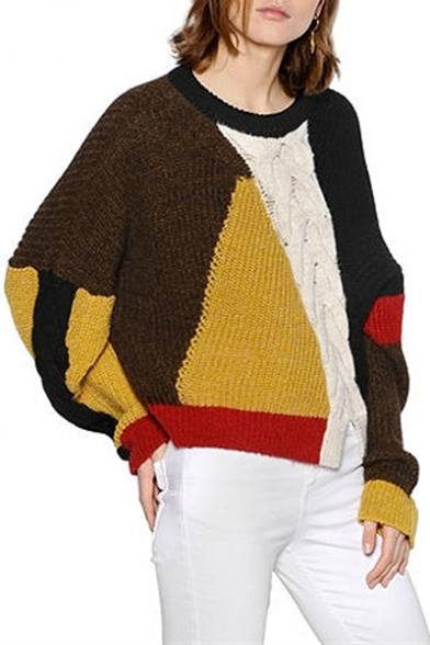 Knitted Ribbed Sweater Notched Pullover Hem Block Patchwork Color Double Trendy ZUqpv7w