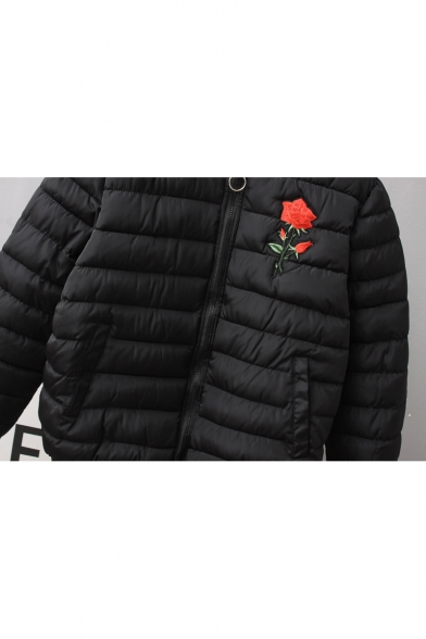 Women's Fashion Floral Embroidery Quilted Long Sleeves Zippered Coat with Pockets