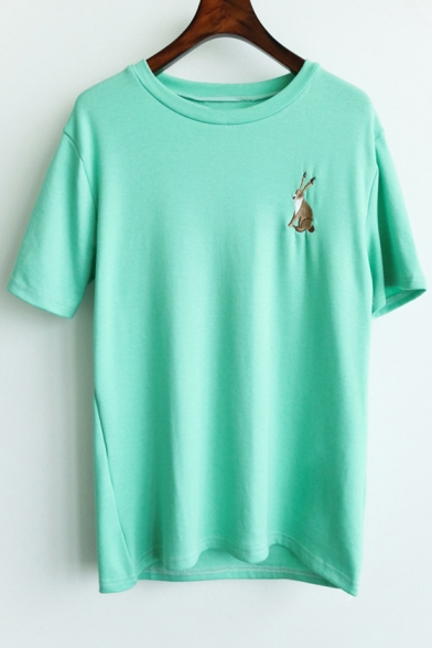 Casual Women's Embroidery Fashion Rabbit Short Round Neck Tee Sleeves ww40xSr