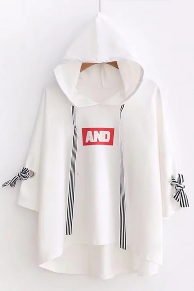 Half Sleeve T Cuff AND Detail Hooded Printed Shirt Bow Letter wRYq06
