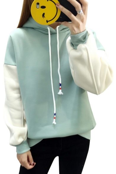 Casual Color Block Long Sleeves Pullover Leisure Hoodie with Drawstring