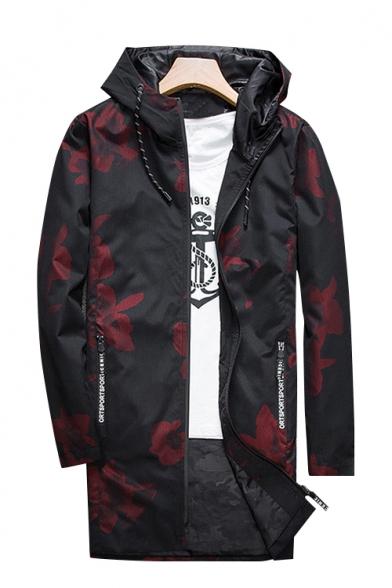Chic Print Drawstring Hood Long Sleeve Zip Up Tunic Windproof Coat